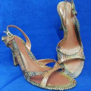 Vintage snake skin slingback heels